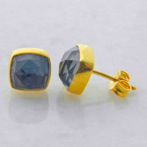 Gold Plated Silver Stud Earrings with Square Hematite