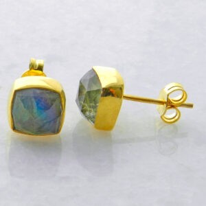 Gold Plated Silver Stud Earrings with Square Labradorite
