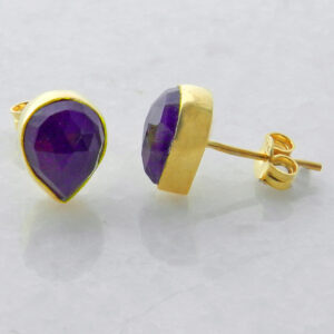 Gold Plated Silver Stud Earrings with Teardrop Amethyst
