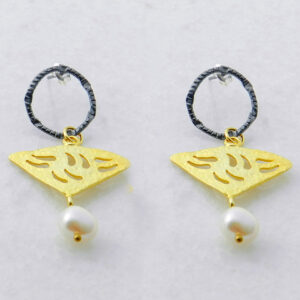 Gold and Rhodium Plated Silver Earrings with Pearls