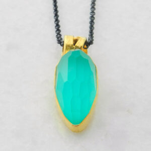 Gold Plated Silver Pendant with Blue Green Chalcedony