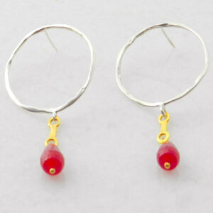 Hoop Earrings with Agate Ruby