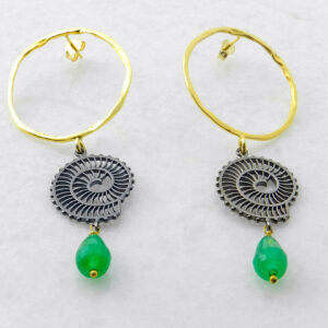 Hoop Earrings with Green Agate