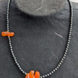 Necklace with Hematite and Carnelian