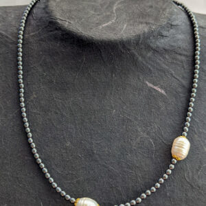Necklace with Hematite and Pearls