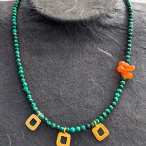 Necklace with Malachite and Carnelian
