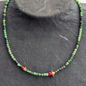 Necklace with Zoisite and Jade
