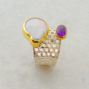 Pearl and Amethyst Adjustable Ring