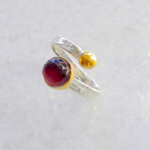 Round Root Ruby Ring