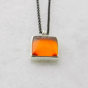 Silver Pendant with Square Amber