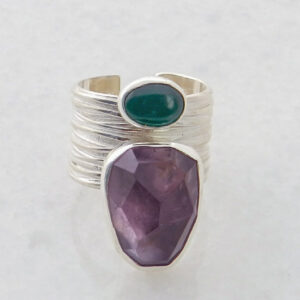 Silver Ring with Amethyst and Jade