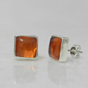 Silver Stud Earrings with Amber