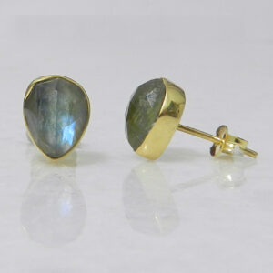 Stud Earrings with Teardrop Labradorite