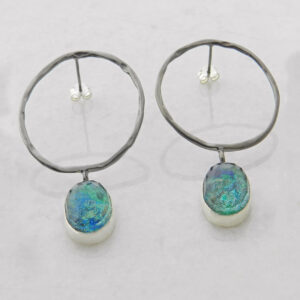 Faceted Azurite-Malachite Hoop Earrings