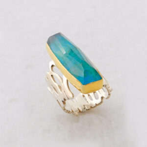 Faceted Rectangle Chrysocolla Ring