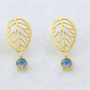 Faceted Round Labradorite Gold Plated Leaf Earrings