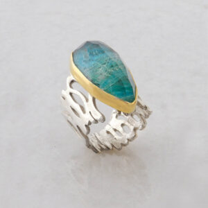 Faceted Teardrop Chrysocolla Ring