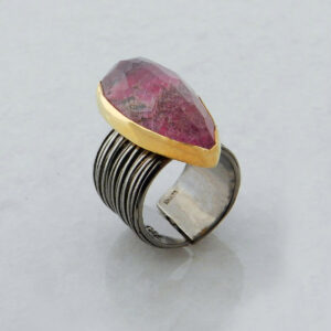 Faceted Teardrop Eudialyte Ring