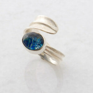 Oval Azurite-Malachite Leaf Ring