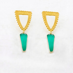 Dangle Earrings with Green-Blue Chalcedony