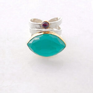 Faceted Green-Blue Chalcedony Ring