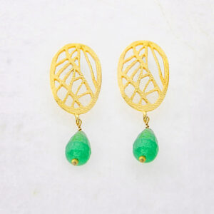 Oval Earrings with Green Agate