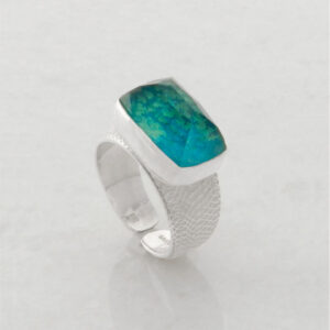 Solitaire Ring with Faceted Rectangle Chrysocolla