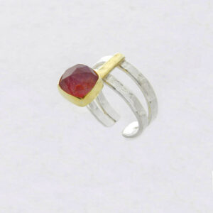 Faceted Square Ruby Root Ring