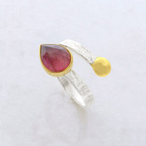 Faceted Teardrop Ruby Root Ring