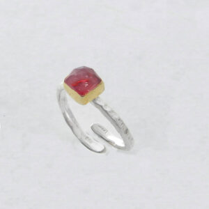 Square Ruby Root Ring